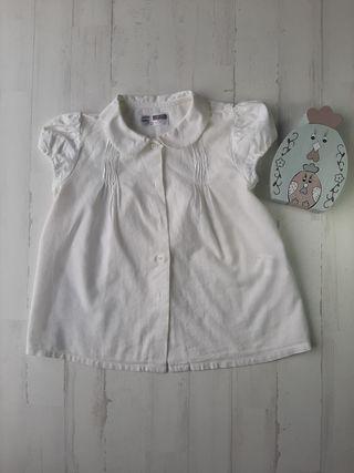 camisa ZARA 18 / 24 meses manga corta blamca