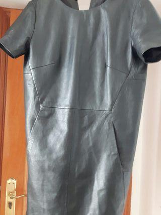 vestido piel Mango