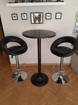 conjunto de mesa alta con 2 taburetes regulables