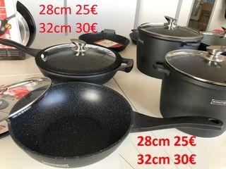 wok efecto piedra sartén resistente honda con Mang