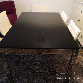 mesa cristal negro extensible