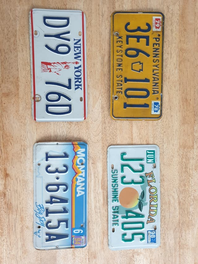 4 Authentic American number plates