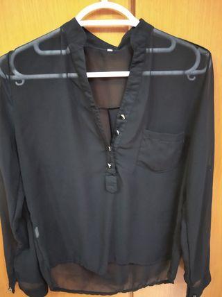 Camisa negra semitransparente negra. Talla 40