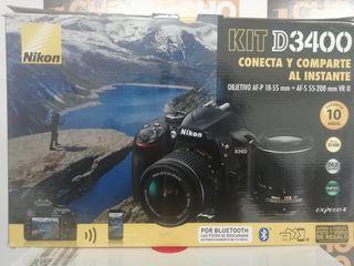 Cámara Réflex Nikon D3400 Kit 18-55 + 55-200 NUEVA