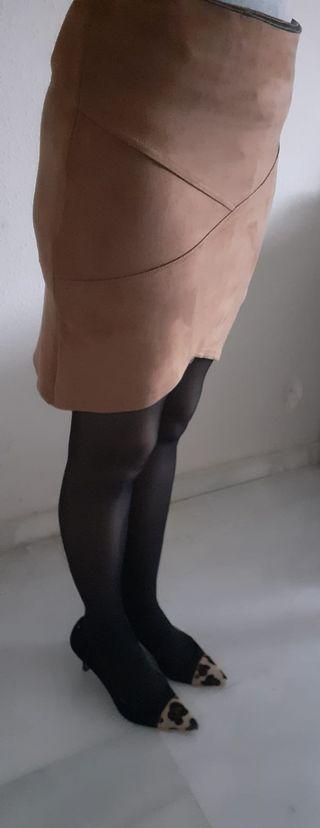 Falda midi ajustada marron