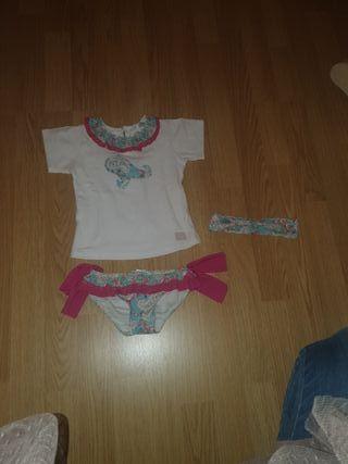 conjunto culetin+ camiseta+cinta pelo