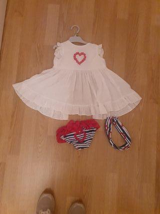 conjunto vestido+bañador+ cinta del pelo