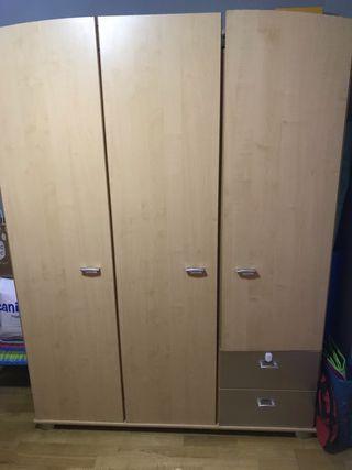Conjunto cuna, armario, cambiador, balda perchero