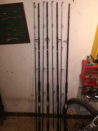 kit pesca siluro 'lote' pesca 4 cañas + carretes
