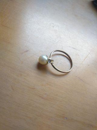 anillo perla + brillante