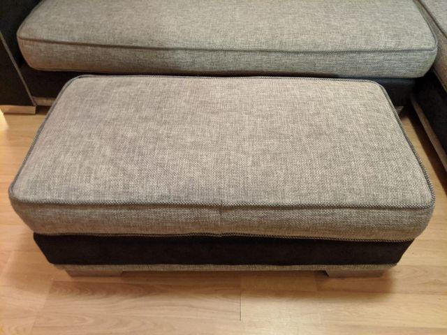 Comfortable corner sofa with cushions & footstool