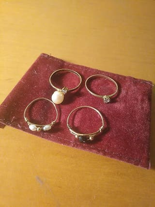 lote 4 anillos bronce