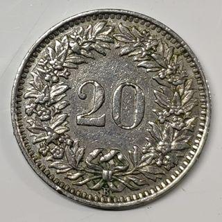 lote 3 monedas Suiza, 5, 10 y 20 centimos