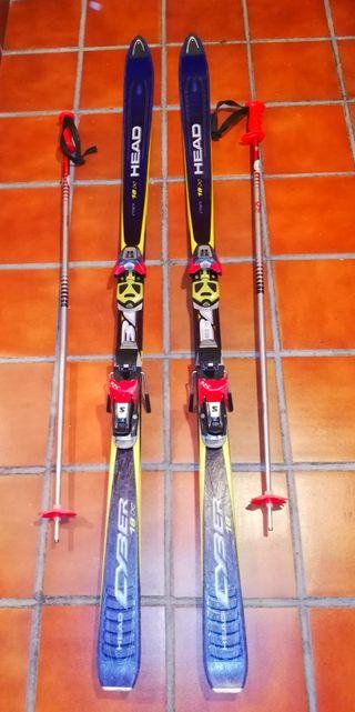 Esquís/tablas sky Head 1.65m+ fijaciones+ bastones