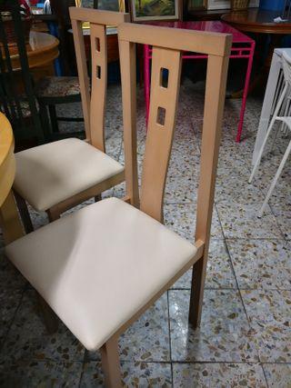 6 sillas, asiento de piel