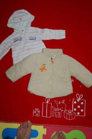 Lote abrigo y sudadera bebé niña