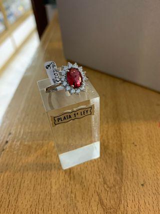Anillo plata de ley piedra roja Tienda