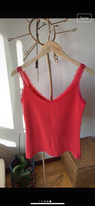 Camiseta lencera rojo fresa