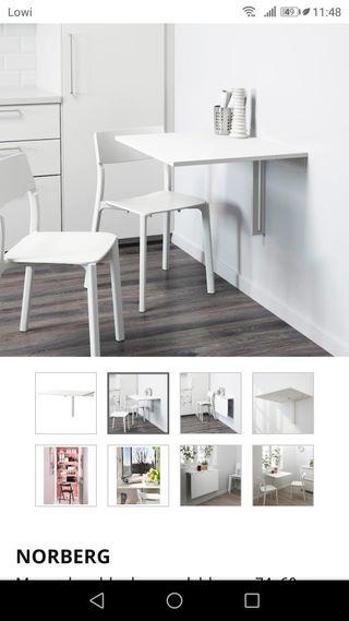 Urge mudanza!!!! Mesa abatible blanca NORBERG Ikea