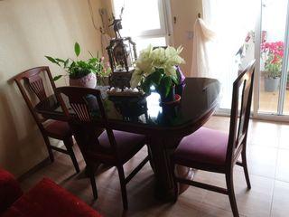 mesa grande de salon + 4 sillas.