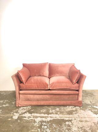 Sofa vintage terciopelo rosa