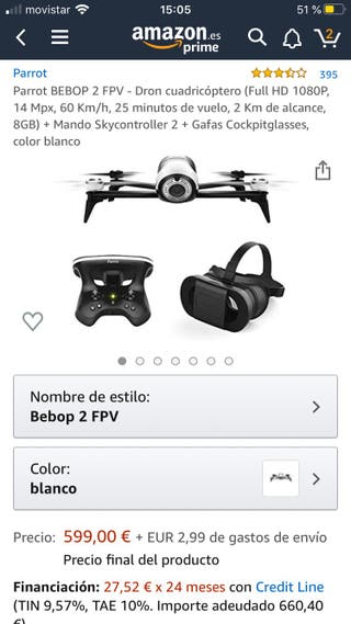 color blanco Full HD 1080P, 14 Mpx, 60 Km//h, 25 minutos de vuelo, 2 Km de alcance, 8GB Dron cuadric/óptero Parrot BEBOP 2 FPV Gafas Cockpitglasses + Mando Skycontroller 2