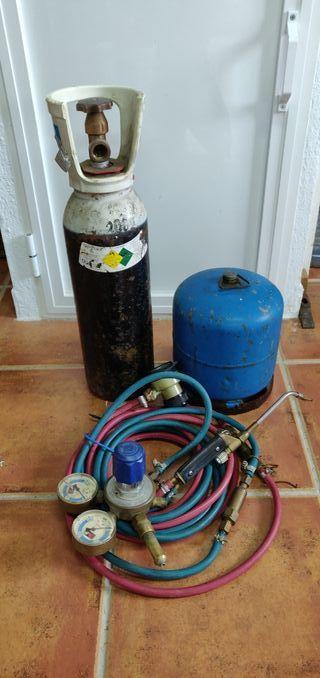 Soplete joyería con bombona oxigeno y gas.