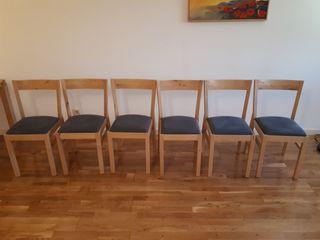 6 sillas de madera Ikea con tela azul
