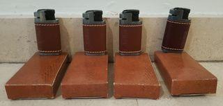 4 mecheros,de gas antiguos de hierro con cuero
