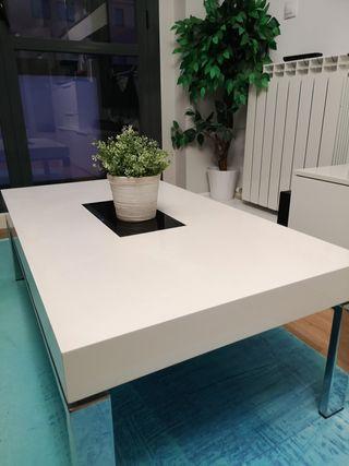 Mesa auxiliar salón blanco lacado