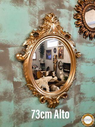 Espejo Barroco 73cm Alto Ovalado Oro Cromo
