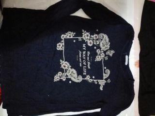 camiseta talla L azul Stradivarius mujer