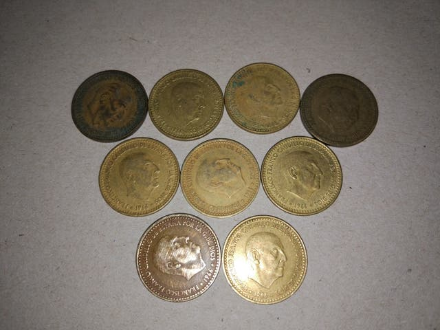 9 Monedas de Una peseta Francisco Franco 1966