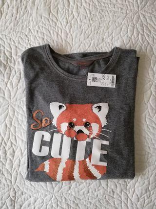 camiseta pijama top largo gris animal manga larga
