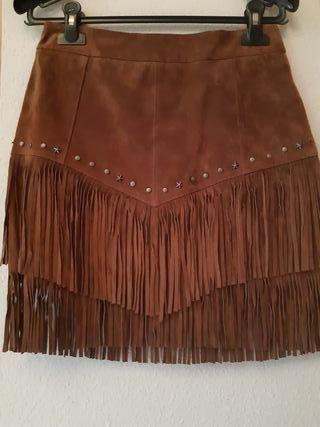falda de flecos de zara