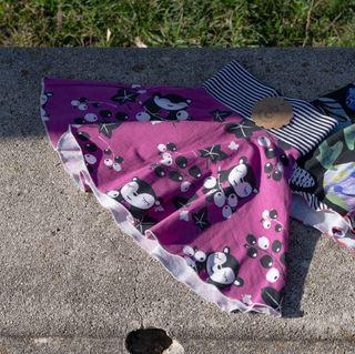 Falda estampada algodón orgánico, 1-3 años. Nueva