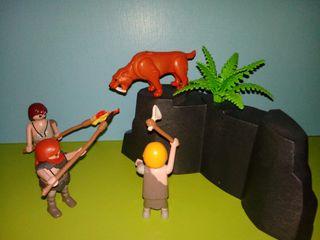 playmobil lote prehistoria hombres cazando