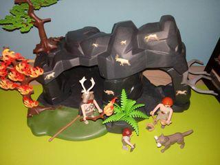 playmobil lote prehistoria familia con caverna