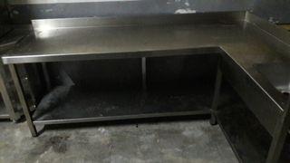 mesa con fregadero de trabajo