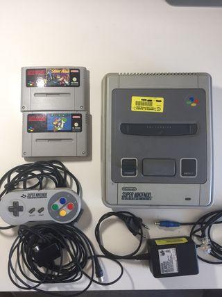 Super Nintendo SNES+Super Mario World+Stunt Race