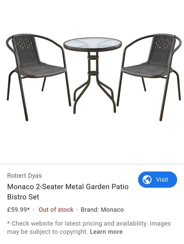 Outdoor set of table and 2 chairs