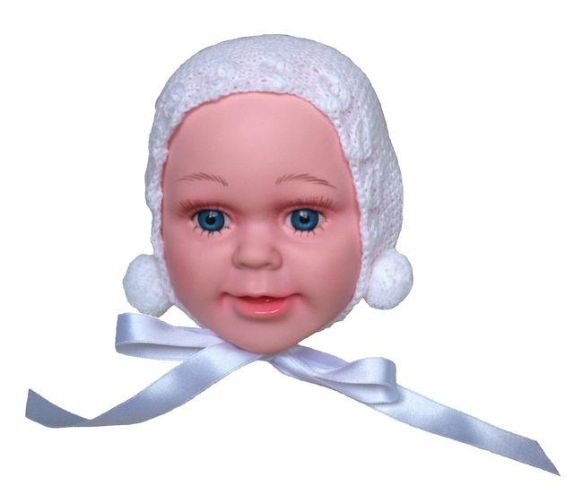 Capota gorro lana blanca bebé de 0-3 meses. Nueva