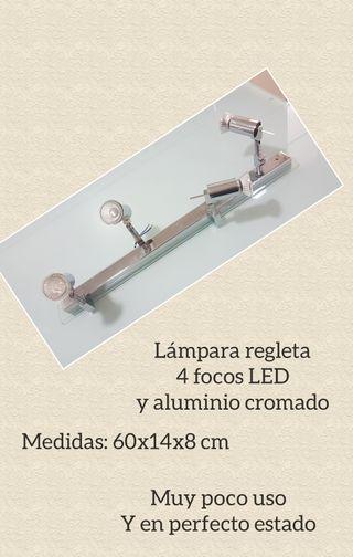 LAMPARA EN REGLETA 4 FOCOS LED CROMADA