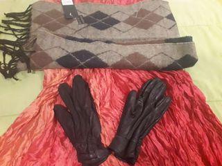 2 Bufandas + Guantes de cuero negro
