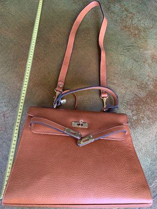 Bolso de piel camel - tipo Hermès