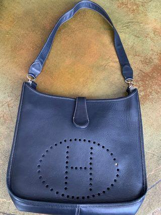 Bolso de piel azul marino - tipo Hermès