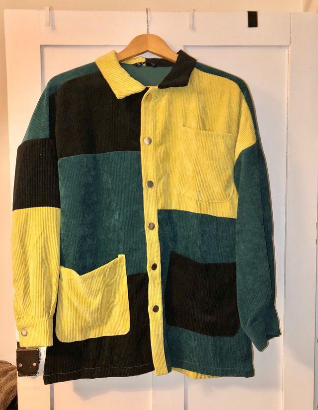 NEW. color block corduroy shirt