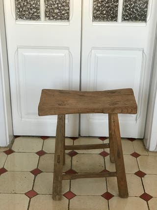 Taburete madera maciza vintage