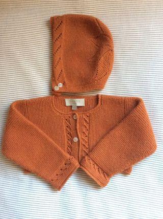 Rebeca jersey cardigan bolero bebe y capota. NANOS