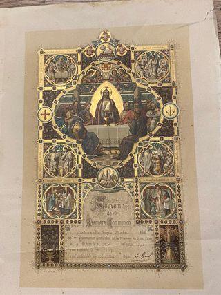Diploma francés 1a Comunión original 1898